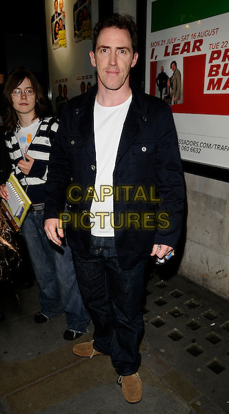 "ROB BRYDON.At the ""Fat Pig"" Press Night,.Trafalgar Studios, 1 Whitehall, London,.England, UK, May 27th 2008..full length black jacket jeans brown shoes.CAP/CAN.©Can Nguyen/Capital Pictures"