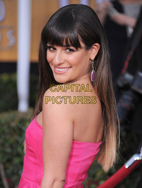 Lea Michele.Arrivals at the 19th Annual Screen Actors Guild Awards at the Shrine Auditorium in Los Angeles, California, USA..27th January 2013.SAG SAGs half length pink strapless looking over shoulder .CAP/DVS.©DVS/Capital Pictures.