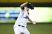 Winston-Salem Dash relief pitcher Ian Clarkin (19) in action against the Frederick Keys at BB&T Ballpark on July 26, 2018 in Winston-Salem, North Carolina. The Keys defeated the Dash 6-1. (Brian Westerholt/Four Seam Images)