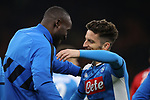 Dries Mertens of Napoli is embraced by fellow countryman Romelu Lukaku of Inter during the Coppa Italia match at Giuseppe Meazza, Milan. Picture date: 12th February 2020. Picture credit should read: Jonathan Moscrop/Sportimage