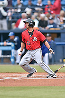 Kannapolis Intimidators catcher Seby Zavala (21) swings at a pitch during a game against the Asheville Tourists at McCormick Field on May 19, 2016 in Asheville, North Carolina. The Intimidators defeated the Tourists 10-7. (Tony Farlow/Four Seam Images)