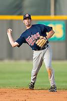 Second baseman Derek McCallum #7 of the Elizabethton Twins makes a throw to first base at Burlington Athletic Park July 19, 2009 in Burlington, North Carolina. (Photo by Brian Westerholt / Four Seam Images)