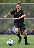 Action from the annual traditional 1st XI football match between St Patrick's College (Town) and Wellington College at Evan's Bay Park, Wellington, New Zealand on Wednesday, 31 May 2017. Photo: Dave Lintott / lintottphoto.co.nz