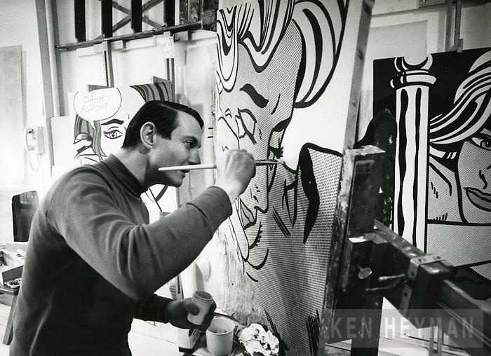 Lichtenstein in his studio.