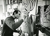 Lichtenstein in his studio.