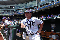 Boomer White #8 of the TCU Horned Frogs looks on during Game 3 of the 2014 Men's College World Series between the Texas Tech Red Raiders and TCU Horned Frogs at TD Ameritrade Park on June 15, 2014 in Omaha, Nebraska. (Brace Hemmelgarn/Four Seam Images)
