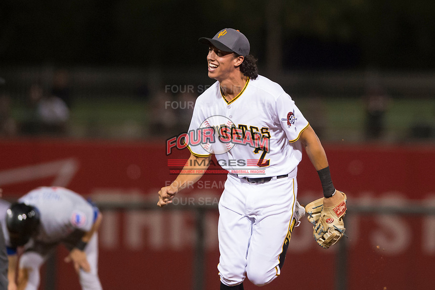 AFL West shortstop Cole Tucker (2), of the Surprise Saguaros and the Pittsburgh Pirates organization, jogs off the field between innings of the Fall Stars game at Surprise Stadium on November 3, 2018 in Surprise, Arizona. The AFL West defeated the AFL East 7-6 . (Zachary Lucy/Four Seam Images)
