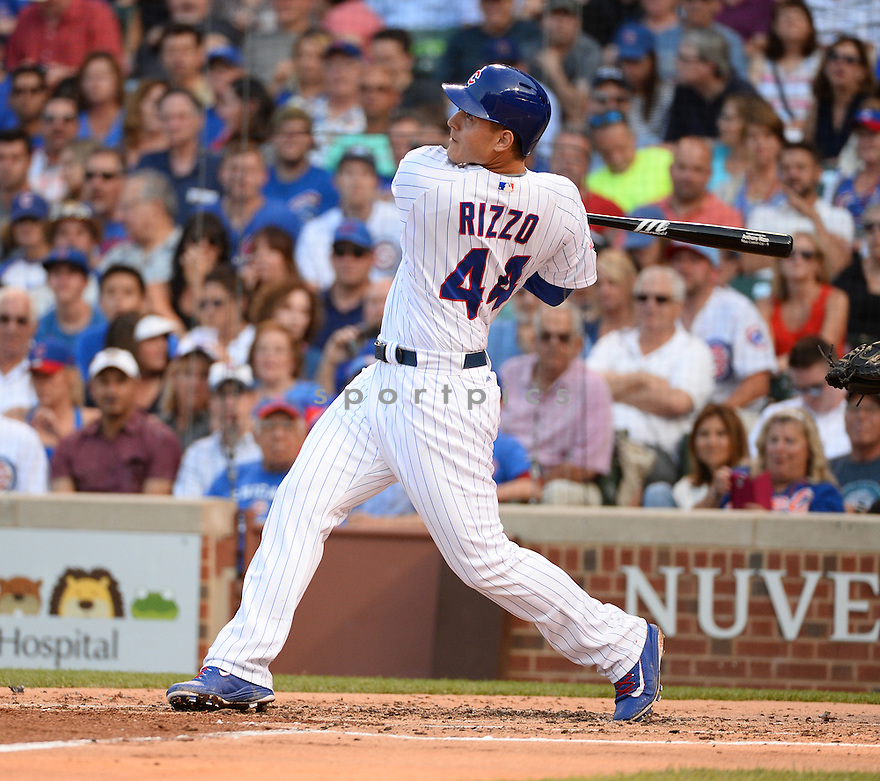 Chicago Cubs Anthony Rizzo (44) during a game against the New York Mets on July 19, 2016 at Wrigley Field in Chicago, IL. The Mets beat the Cubs 2-1.
