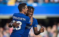 Cesar Azpilicueta of Chelsea celebrates his goal with Michy Batshuayi of Chelsea during the Premier League match between Chelsea and Watford at Stamford Bridge, London, England on 21 October 2017. Photo by Andy Rowland.