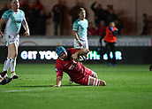 29th September 2017, Parc y Scarlets, Llanelli, Wales; Guinness Pro14 Rugby, Scarlets versus Connacht; Tadhg Beirne of Scarlets slides over the try line to score late in the 2nd half making it 34-27 to Scarlets