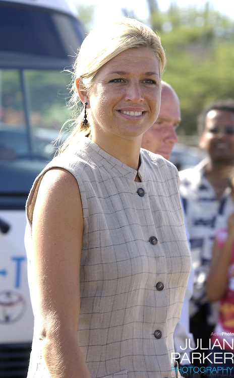 Crown Prince Willem Alexander, and Crown Princess Maxima of Holland visit The Dutch Antilles..Visit the Island of Bonaire..The Royal Couples program included, a visit to The Windsurf Place for a demonstration, The Rincon Cultural Market, A centre for the elderly, The Salt Mountains, and The town of Kralendijk, where they attended a reception at Fort Orange.
