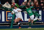 1st February 2019, Energia Park, Dublin, Ireland; Womens Six Nations rugby, Ireland versus England; Jess Breach (England) gets by Lauren Delany (Ireland) to go over and score a try
