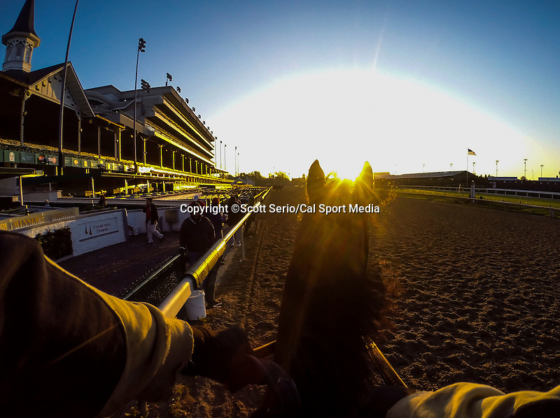 April 28, 2015: Scenes from morning workouts as horses exercise for the Kentucky Derby and Kentucky Oaks at Churchill Downs in Louisville, Kentucky. Scott Serio/CSM