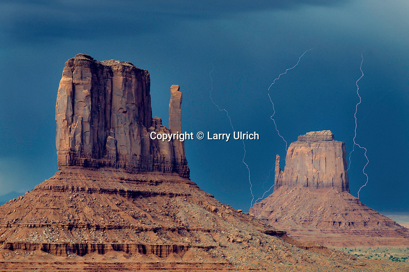 Thunderstorm over West and East Mitten Buttes<br /> Monument Valley<br /> Monument Valley Navajo Tribal Park<br /> Colorado Plateau,  Arizona