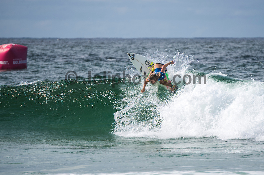 COOLANGATTA, Queensland/Australia (Saturday, February 28, 2015) Roxy Pro Trials winner Bronte MacAulay (AUS). - The world's best surfers began competition  on Australia's Gold Coast today in the opening stop of the 2015 World Surf League (WSL)  Championship Tour (CT) season, the Quiksilver and Roxy Pro Gold Coast. The event got underway today at 8 a.m. local time with Men's Round 1 followed by Women's Round 1.<br /> <br /> Reigning WSL Champions and defending event winners Gabriel Medina (BRA) and Stephanie Gilmore (AUS) both competed in Round 1 today. Medina will face rookie compatriot Wiggolly Dantas (BRA) and event wildcard Dane Reynolds (USA), in Men's Round 1 Heat 6, while Gilmore faces a returned-to-form Silvana Lima (BRA) and Bronte Macaulay (AUS), (winner of the Trials) in Women's Round 1 Heat 3. Medina was successful in his heat with Gilmore lost to Lima and will surf in Round 2.<br /> -  Photo: joliphotos.com