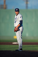 Tri-City Dust Devils relief pitcher Wen-Hua Sung (50) looks in for the sign during a Northwest League game against the Everett AquaSox at Everett Memorial Stadium on September 3, 2018 in Everett, Washington. The Everett AquaSox defeated the Tri-City Dust Devils by a score of 8-3. (Zachary Lucy/Four Seam Images)
