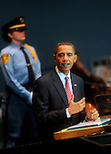 New York, NY - September 23, 2009 -- United States President Barack Obama delivers his first address to the United Nations General Assembly at U.N. headquarters in New York City on Wednesday, September 23, 2009. .Credit: Olivier Douliery - Pool via CNP