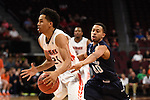 March 7, 2015; Las Vegas, NV, USA; Pepperdine Waves guard Shawn Olden (21) dribbles the basketball against San Diego Toreros guard Christopher Anderson (00) during the first half of the WCC Basketball Championships at Orleans Arena.