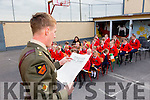 Irish defence forces  Lt Denis Sheahan reads out part of the proclamation at Scoil Mhuire Gan Smal,  Lixnaw, when he visited the school on Thursday to present the Irish Tri Colour and proclamation