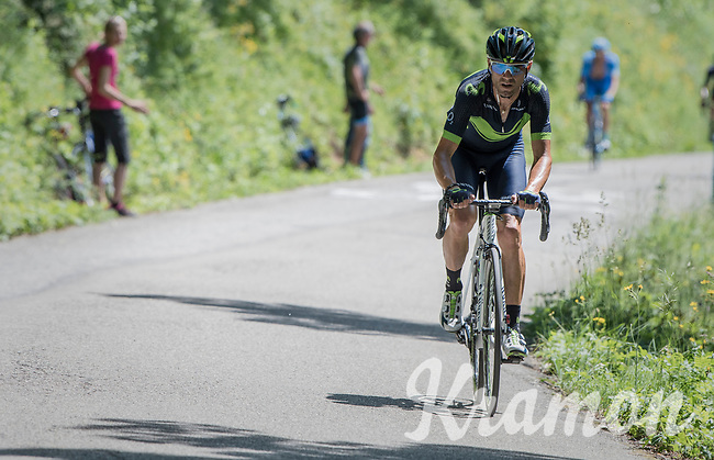 Alejandro Valverde (ESP/Movistar) breaking free from the peloton &amp; trying to close the gap with the riders further up the Mont du Chat (HC/1504m/8.7km/10.3%)<br /> <br /> Stage 6: Le parc des oiseaux/Villars-Les-Dombes &rsaquo; La Motte-Servolex (147km)<br /> 69th Crit&eacute;rium du Dauphin&eacute; 2017