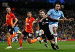 Gabriel Jesus of Manchester City is challenged by Andriy Pyatov of Shakhtar Donetsk during the UEFA Champions League match at the Etihad Stadium, Manchester. Picture date: 26th November 2019. Picture credit should read: Darren Staples/Sportimage