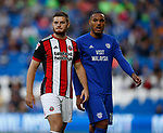 Paul Coutts of Sheffield Utd and Kenneth Zohore of Cardiff City during the Championship match at the Cardiff City Stadium, Cardiff. Picture date: August 15th 2017. Picture credit should read: Simon Bellis/Sportimage