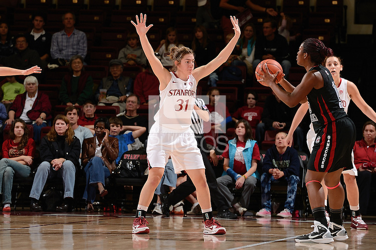 STANFORD, CA - NOVEMBER 26: Toni Kokenis of Stanford women's basketball on defense in a game against South Carolina on November 26, 2010 at Maples Pavilion in Stanford, California.  Stanford topped South Carolina, 70-32.