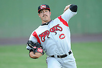 Starting pitcher Shawn Morimando (25) of the Carolina Mudcats before a game against the Potomac Nationals on Friday, June 21, 2013, at G. Richard Pfitzner Stadium in Woodbridge, Virginia. Potomac won, 5-1. (Tom Priddy/Four Seam Images)