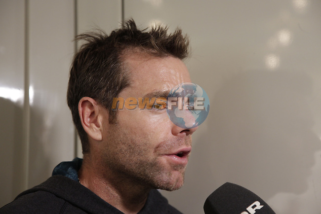 Former Tour winner Cadel Evans (AUS) BMC Racing Team press conference before the 104th edition of the Tour de France 2017, Dusseldorf, Germany. 29th June 2017.<br /> Picture: Eoin Clarke | Cyclefile<br /> <br /> <br /> All photos usage must carry mandatory copyright credit (&copy; Cyclefile | Eoin Clarke)