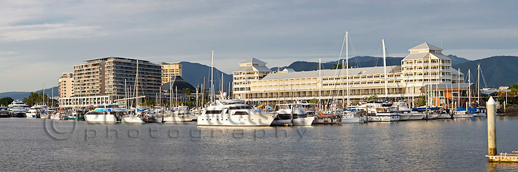 The Marlin Marina with city skyline in background. Cairns, Queensland, Australia