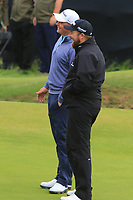 James Sugrue (IRL)(AM) and Shane Lowry (IRL) on the 13th during the preview of the the 148th Open Championship, Portrush golf club, Portrush, Antrim, Northern Ireland. 17/07/2019.<br /> Picture Thos Caffrey / Golffile.ie<br /> <br /> All photo usage must carry mandatory copyright credit (© Golffile | Thos Caffrey)