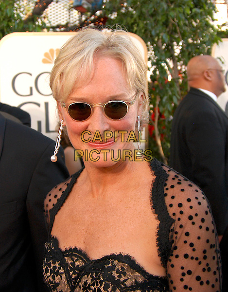 GLENN CLOSE.62nd Annual Golden Globe Awards, Beverly Hills, Los Angeles, California.January 16th, 2005.headshot, portrait, sunglasses, shades, dangling pearl earrings.www.capitalpictures.com.sales@capitalpictures.com.Supplied by Capital Pictures.