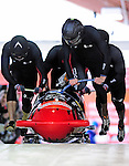 19 December 2010: John Napier leads his 4-Man Bobsled team in the push-off, taking 7th place for the USA at the Viessmann FIBT World Cup Championships on Mount Van Hoevenberg in Lake Placid, New York, USA. Mandatory Credit: Ed Wolfstein Photo