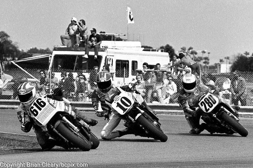 Geoff Fowler (#616 Yamaha), Rodney Farris (#10 Yamaha), Britt Tarkington (#280 Suzuki), Daytona 200, Daytona International Speedway, March 8, 1987.  (Photo by Brian Cleary/bcpix.com)