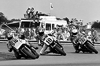 Geoff Fowler (#616 Yamaha), Rodney Farris (#10 Yamaha), Britt Tarkington (#280 Suzuki), Daytona 200, Daytona International Speedway, March 8, 1987.  (Photo by Brian Cleary/bcpix.com)
