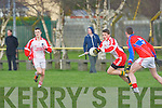 Sean O Bambaire (Pobalscoil Chorca,Dhuibhne) in action with Kieran Brosnan (KIC) in the Colleges under 16 1/2 Bruan Cup at Austin Stack GAA grounds Connolly Park, Tralee on Wednesday.
