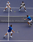 SHANGHAI, CHINA - OCTOBER 17:  Jurgern Melzer (top L) of Austria and Leander Paes (top R) of India in action on their doubles final against Mariusz Fyrstenberg (botton L) and Marcin Matkowski of Poland during day seven of the 2010 Shanghai Rolex Masters at the Shanghai Qi Zhong Tennis Center on October 17, 2010 in Shanghai, China.  (Photo by Victor Fraile/The Power of Sport Images) *** Local Caption *** Jurgern Melzer; Leander Paes; Mariusz Fyrstenberg; Marcin Matkowski