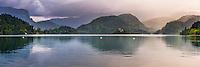 Lake Bled sunset landscape, Slovenia. Lake Bled Island, Bled, Julian Alps, Gorenjska, Upper Carniola Region, Slovenia, Europe