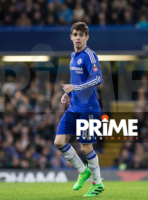 Oscar of Chelsea during the FA Cup 5th round match between Chelsea and Manchester City at Stamford Bridge, London, England on 21 February 2016. Photo by Andy Rowland.