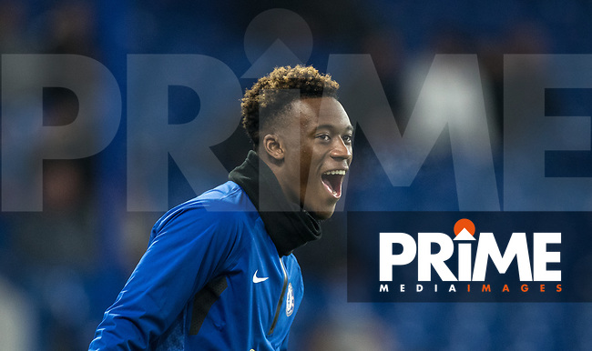 Callum Hudson-Odoi of Chelsea pre match during the Carabao Cup Semi-Final 2nd leg match between Chelsea and Tottenham Hotspur at Stamford Bridge, London, England on 24 January 2019. Photo by Andy Rowland.