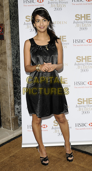 KONNIE HUQ.The She Inspiring Women Awards 2009, Claridge's hotel, London, England..May 8th, 2009.full length black sleeveless dress platform sandals gold bracelets .CAP/CAN.©Can Nguyen/Capital Pictures.