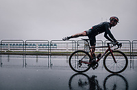 Dylan Theuns (BEL/BMC) on his way to the race start on the Promenade des Anglais in torrential rained down Nice (and next to the Mediterranean Sea)<br /> <br /> 76th Paris-Nice 2018<br /> Stage 8: Nice > Nice (110km)
