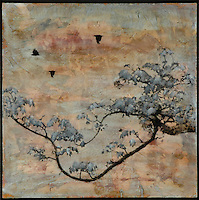 Zen tree encaustic photo transfer by Jeff League.