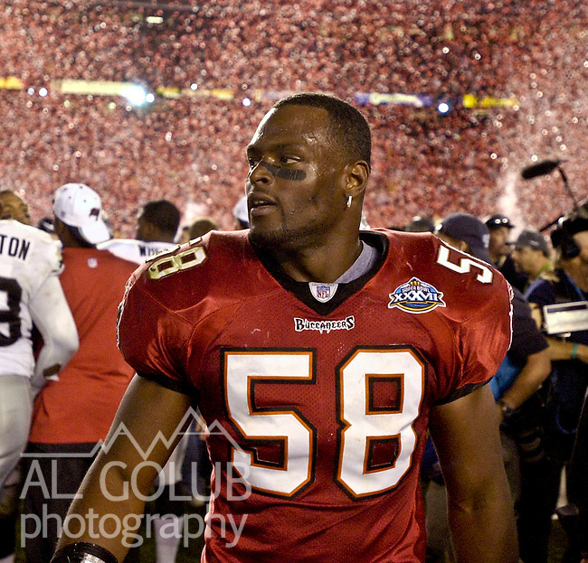 Tampa Bay Buccaneers linebacker Jack Golden (58) on Sunday, January 26, 2003, in San Diego, California. The Buccaneers defeated the Raiders 48-21 in the Superbowl game.
