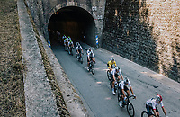 peloton with yellow jersey Geraint Thomas (GBR/SKY) exiting a tunnel<br /> <br /> Stage 13: Bourg d'Oisans &gt; Valence (169km)<br /> <br /> 105th Tour de France 2018<br /> &copy;kramon