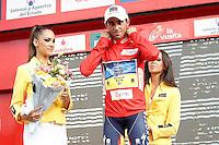 Alberto Contador with the red jersey of leader after the stage of La Vuelta 2012 beetwen Penafiel-La Lastrilla.September 7,2012. (ALTERPHOTOS/Acero) /NortePhoto.com<br /> <br /> **CREDITO*OBLIGATORIO** *No*Venta*A*Terceros*<br /> *No*Sale*So*third* ***No*Se*Permite*Hacer Archivo***No*Sale*So*third