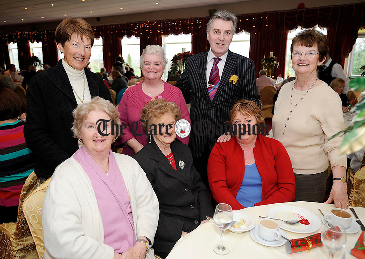 Anne O'Sullivan, Mary T Murphy, Anna Monahan, Catherine Howard, Nigel Bridge, Mary Howard and Helena O'Dowd at the Clare Branch of the National Council for the Blind dinner at the Clare Inn.Pic Arthur Ellis.