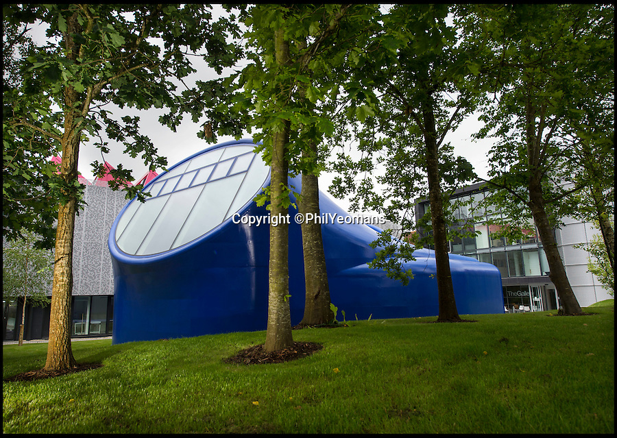 BNPS.co.uk (01202)558833<br /> Pic: PhilYeomans/BNPS<br /> <br /> Futuristic organic artist pod wins prestigious RIBA prize...<br /> <br /> An arts university's new wacky drawing studio has won the prestigious Royal Institute of British Architects national award.<br /> <br /> The bright blue building that looks like it has just landed from outer space is the first purpose-built drawing studio in Britain in over 100 years.<br /> <br /> It was built on the campus of the Arts University Bournemouth and has been designed by the English architect Sir Peter Cook