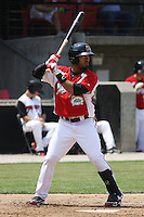 David Cook #24 of the Carolina Mudcats at bat during a game against the Chattanooga Lookouts on May 22, 2011 at Five County Stadium in Zebulon, North Carolina. Photo by Robert Gurganus/Four Seam Images.