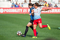 Kansas City, MO - Saturday September 9, 2017: Christina Gibbons, Danielle Colaprico during a regular season National Women's Soccer League (NWSL) match between FC Kansas City and the Chicago Red Stars at Children's Mercy Victory Field.